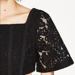 Zara black crop top 😍 lace design beautiful cut
